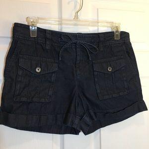 Loft Cargo Denim Cuffed Shorts with Drawstring